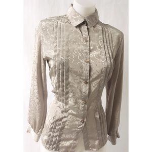 Grey Pleated Vintage Top Size 8P